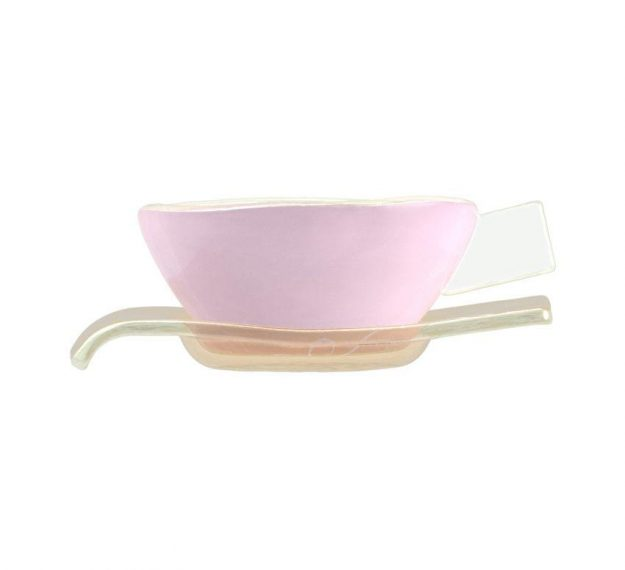 Handcrafted Modern Pink Tea Cups and Saucers Designed by Anna Vasily - Side View