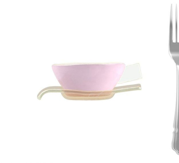 Pink tea cups and saucers