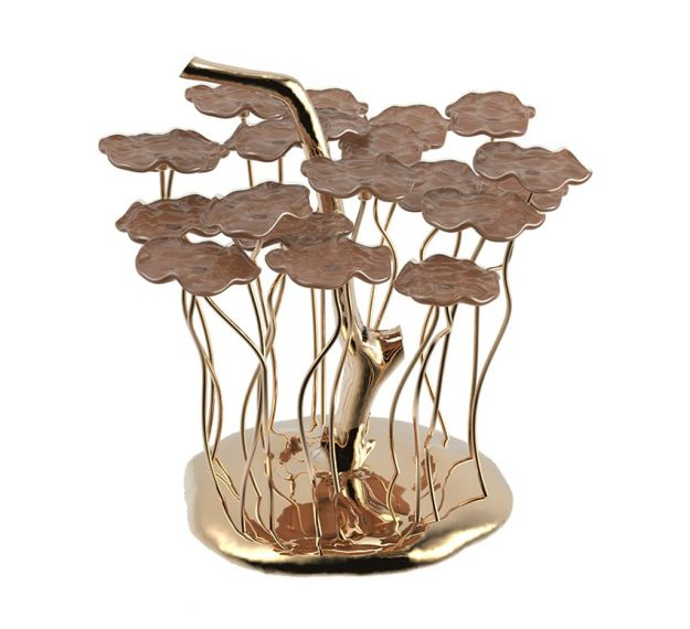 Brown flower petit four stand