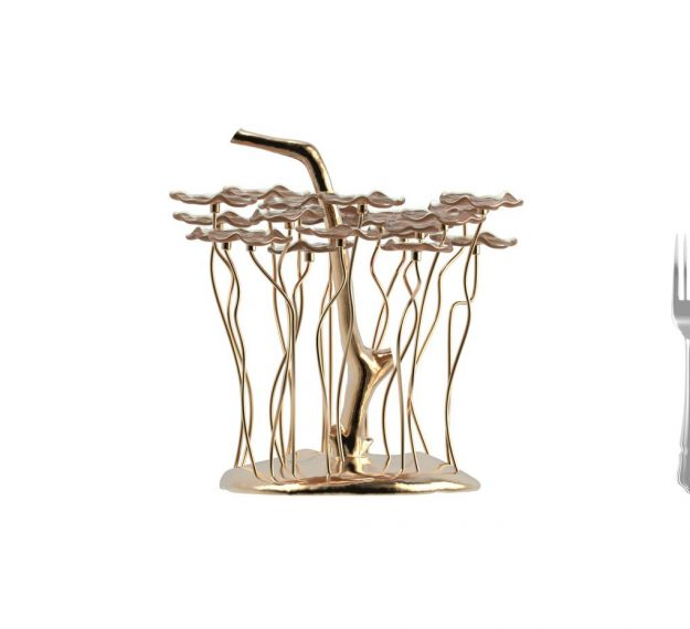 AnnaVasily- With 20 removable doe brown flower plates, Vel is a flower petit four stand. The base is of hand cast polished bronze alloy.