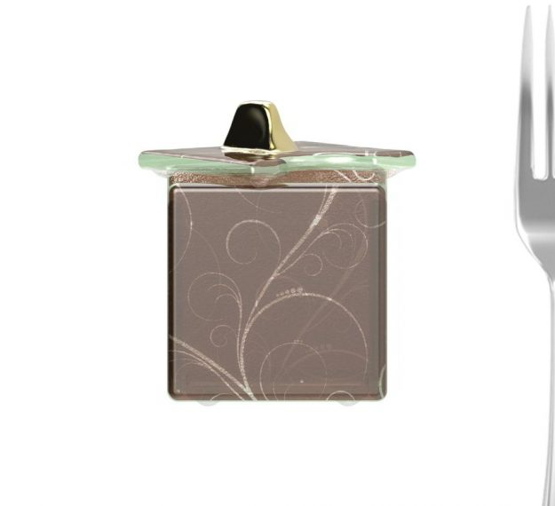 AnnaVasily- Victo is a dark doe brown sugar caddy with lid studded with knob and decorated with our Sixties pattern.