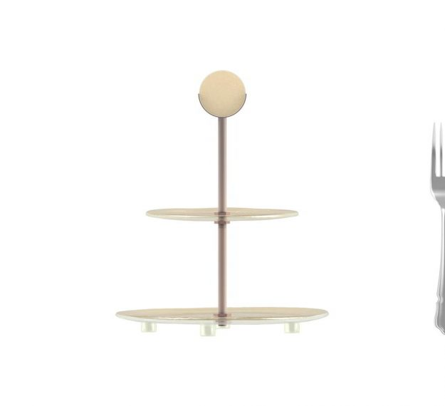 AnnaVasily- Wes is a two tier cupcake stand in cream with our Vivace design.