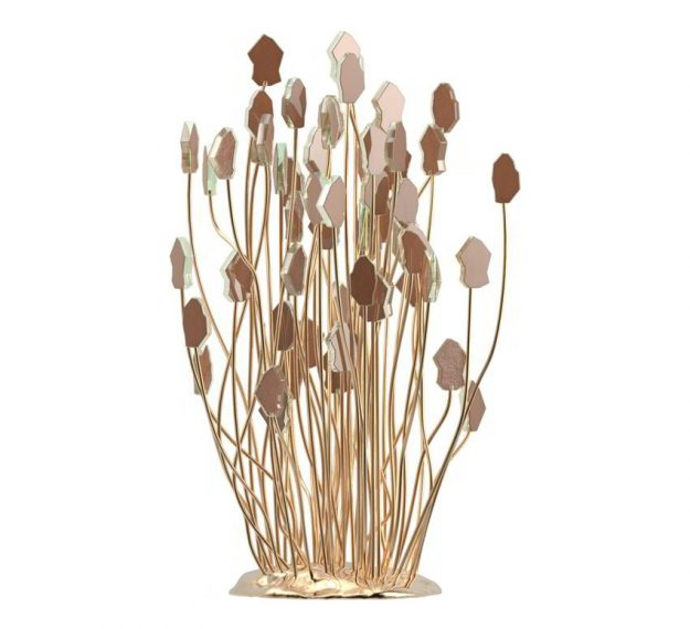 AnnaVasily - Agapa is a table centrepiece in the form of a flower bouquet in dark doe brown supported on a hand crafted bronze base.-Side View