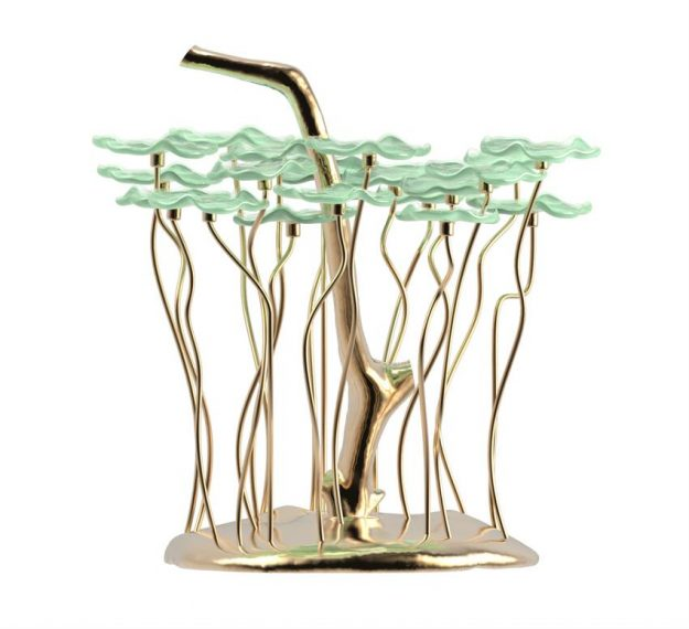 AnnaVasily - Bobi is a green dessert stand with 20 removable flower shaped, mini glass plates.-Side View