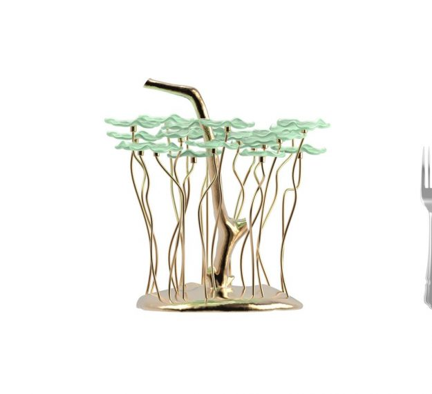 AnnaVasily- Bobi is a jade green dessert stand with 20 removable flower shaped mini glass plates. The base is of hand polished bronze alloy.