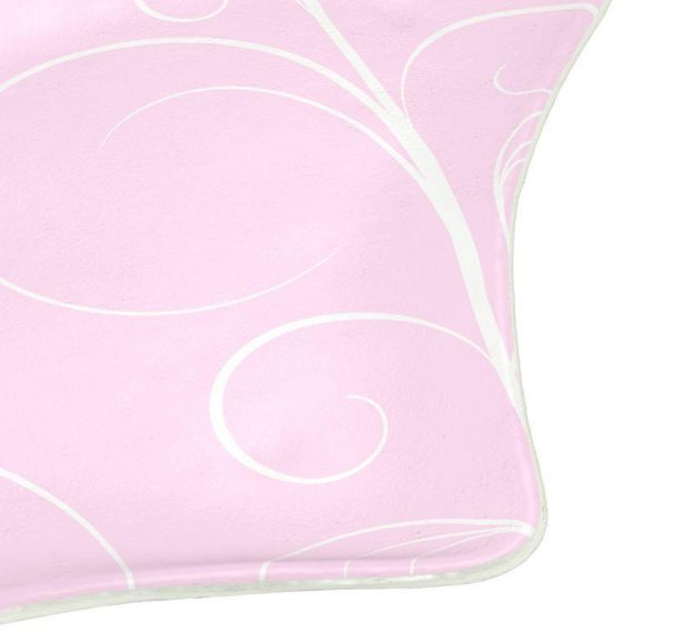 AnnaVasily - Judy is a fan shaped pink charger plate in soft shell pink with our Vivace pattern.-Detail View