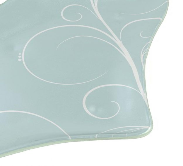 Pastel Blue Charger Plates, Fan-Shaped, Designed by Anna Vasily - Detail View