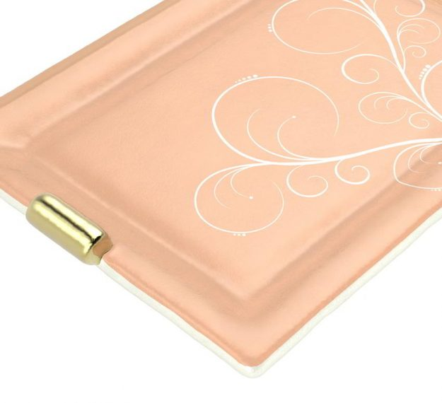 AnnaVasily - Nora is a sushi plate in a cameo rose colour with shiny bronze handles and our own Vivace design.-Detail View