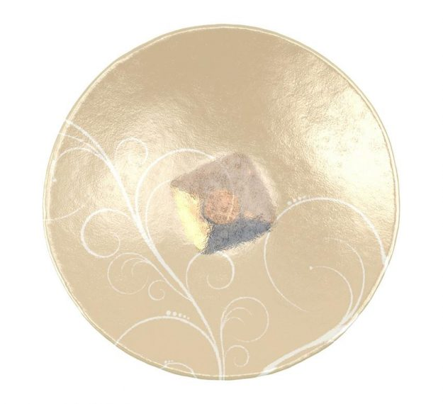AnnaVasily - Xante is a large fruit bowl in cream and our Vivace pattern on a square bronze pedestal.-Top View