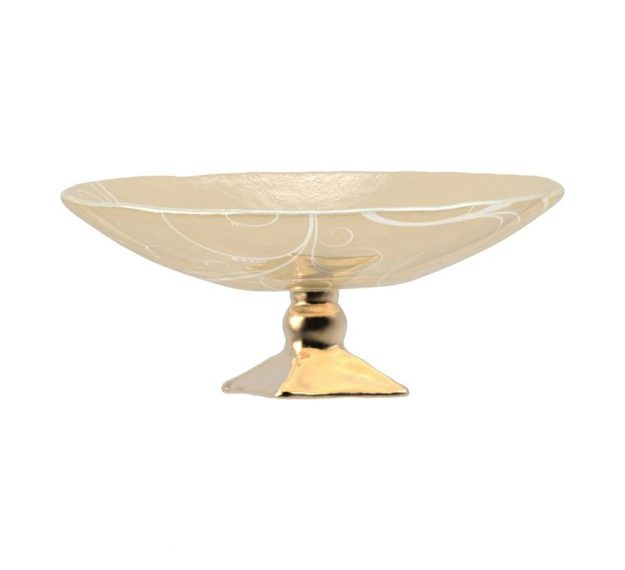 AnnaVasily - Xante is a large fruit bowl in cream and our Vivace pattern on a square bronze pedestal.-Side View