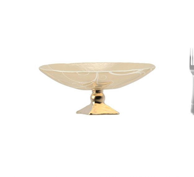 AnnaVasily - Xante is a large fruit bowl in cream and our Vivace pattern on a square bronze pedestal.-Measure View
