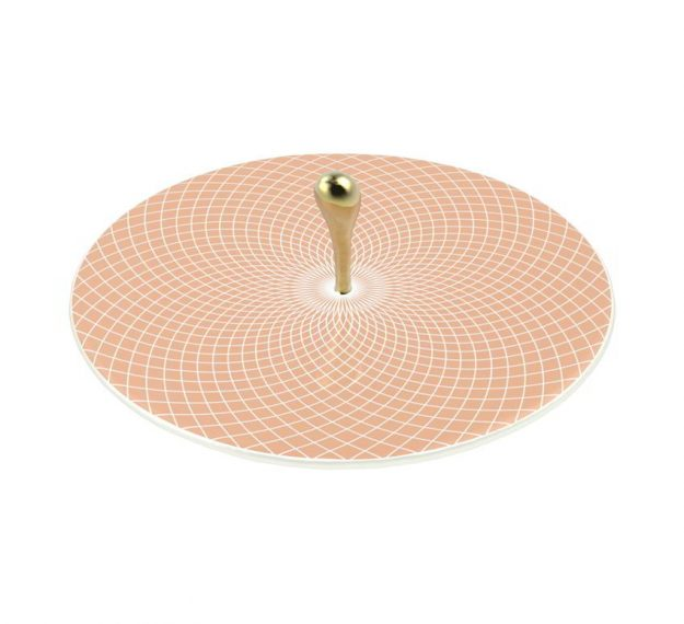 Rose Gold Platter with Polished Brass Handle Designed by Anna Vasily - 3/4 View