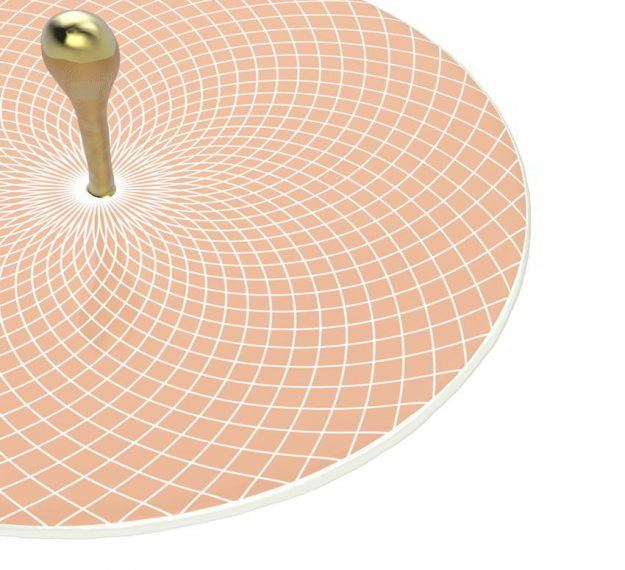 Rose Gold Platter with Polished Brass Handle Designed by Anna Vasily - Detail View