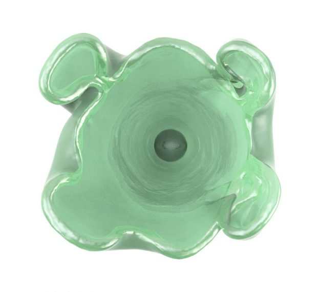 Green Glass Vase on Pedestal Delight your Flowers - By AnnaVasily - Top View