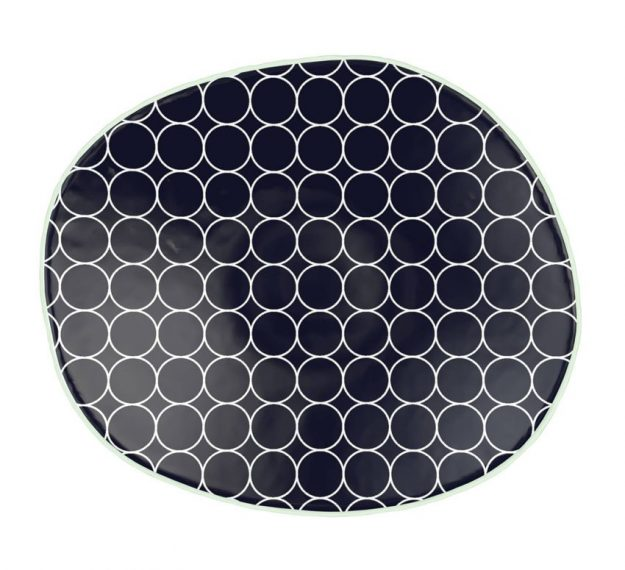 Patterned Navy Blue Side Plates with Organic Form by Anna Vasily - Top View