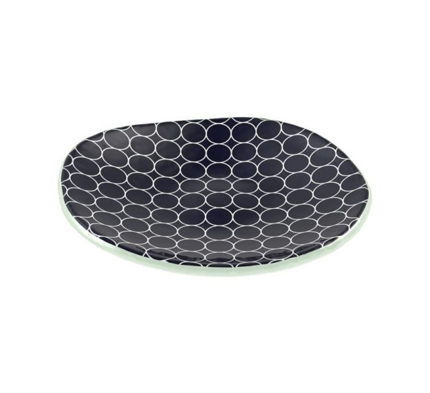 Patterned Navy Blue Side Plates with Organic Form by Anna Vasily - 3/4 View