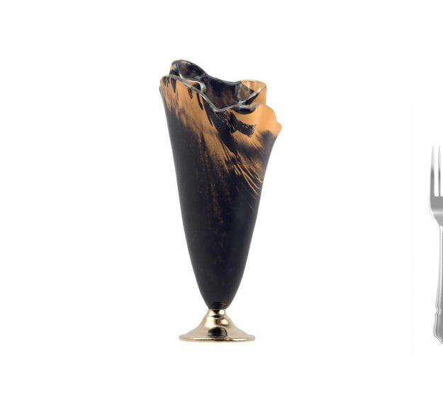 Blue Flower Vase Centrepiece on Golden Brass Pedestal by AnnaVasily - Measure View