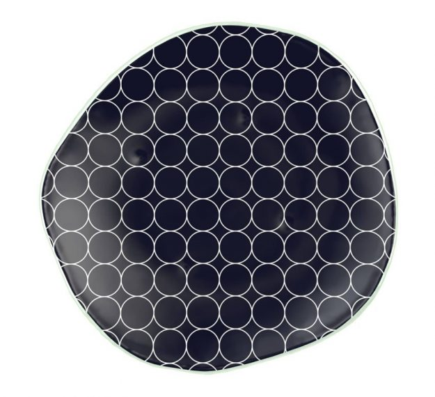Organic Designer Dinner Plates in Navy Blue by Anna Vasily - Top View