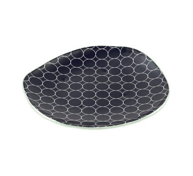 Organic Designer Dinner Plates in Navy Blue by Anna Vasily - 3/4 View