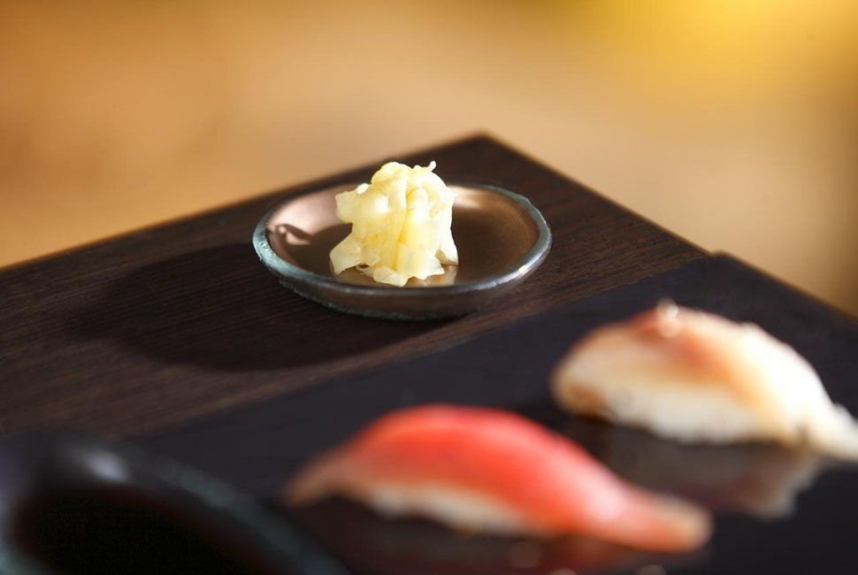 Small brown Japanese sushi soy sauce dish Faith by AnnaVasily with pickled ginger.