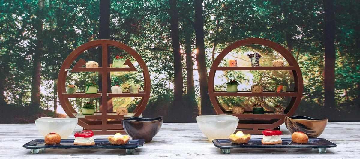 Winter High Tea - Tea tray - Elegant and balanced Japanese tea ceremony presentation with beautiful glass high tea stands, tea bowls and presentation platters