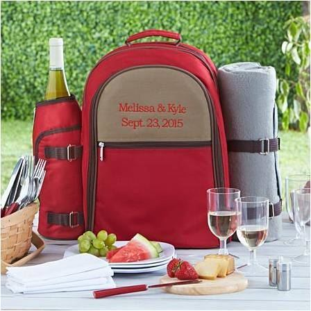 customized red picnic backpack