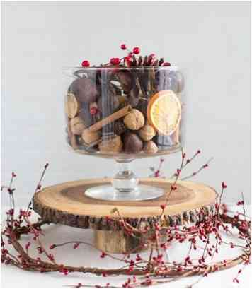 wood tone centerpiece for the Christmas table