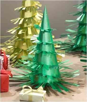 DIY Christmas Trees from green and golden paper