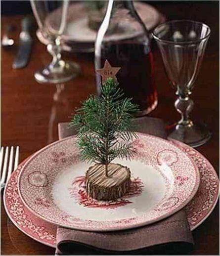 miniature Christmas tree in the plate as a compliment to the guests