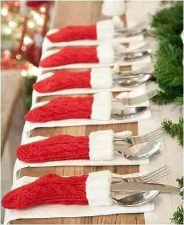 silverware in Christmas sox