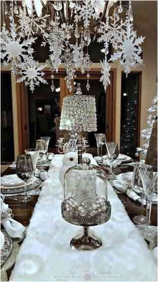 Christmas table setting with icy Chandelier