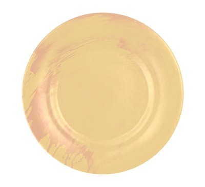 Luxurious Dinner Sets Kylie is a round dish in champagne colour with a splash of cameo rose.