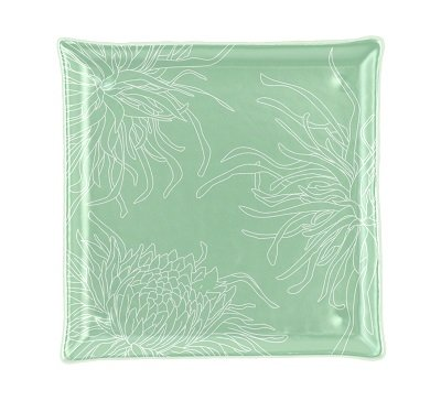 Green and White Plates Ruby is a classy small side plate with an elevated rim in a square form, coloured in pearl white with dazzling splashes of fine jade green.
