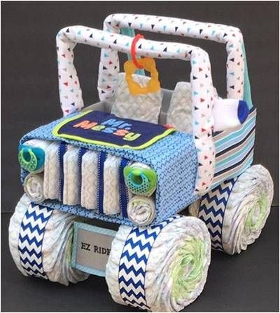 Diapers, Blankets and Accessories shaped as a Jeep