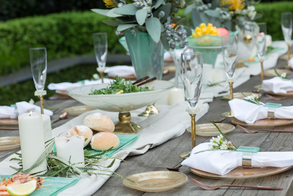 Elegant green gold garden party tablescapes for Australia Day with luxury dinnerware.