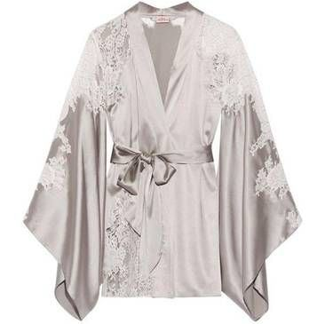 Leisure land lace satin robe