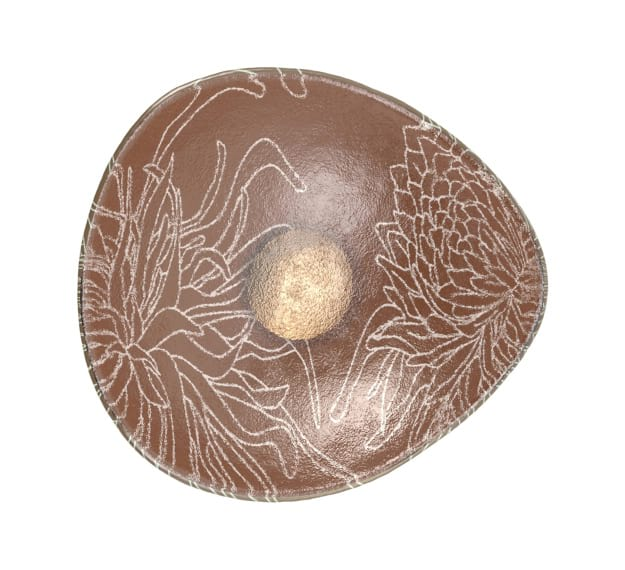 Small Fruit Bowl Dressed in Metallic Brown Matt Pigment by AnnaVasily - Top View
