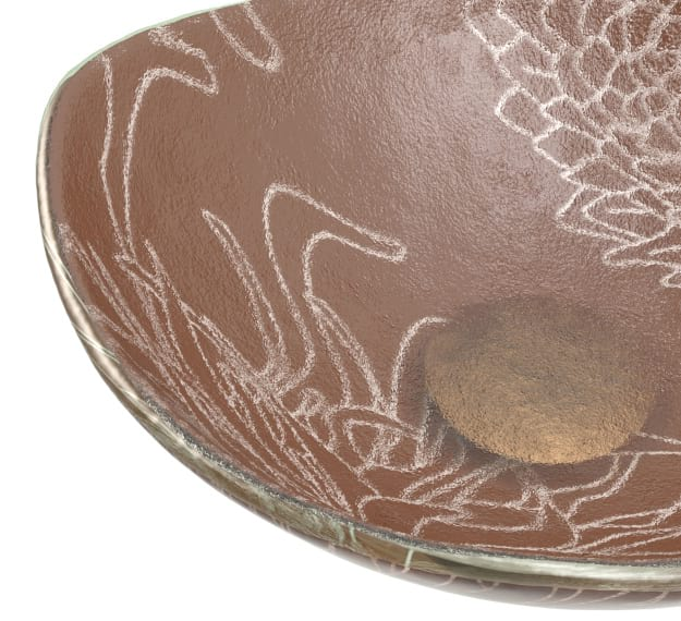 Small Fruit Bowl Dressed in Metallic Brown Matt Pigment by AnnaVasily - Detail View