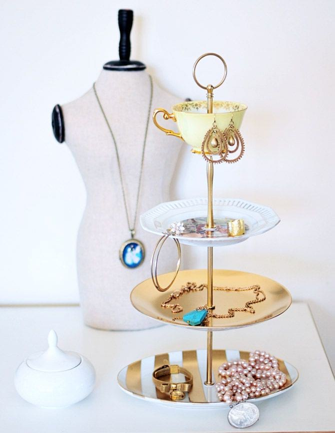 3 tier cake stand covered in various jewellery