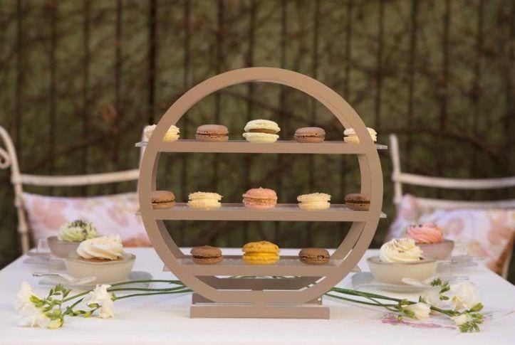 3 tier cake stand covered in macaroons