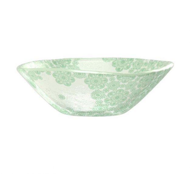 Green Rice Bowl With Pattern An Organic Glass Bowl by Anna Vasily - Side View