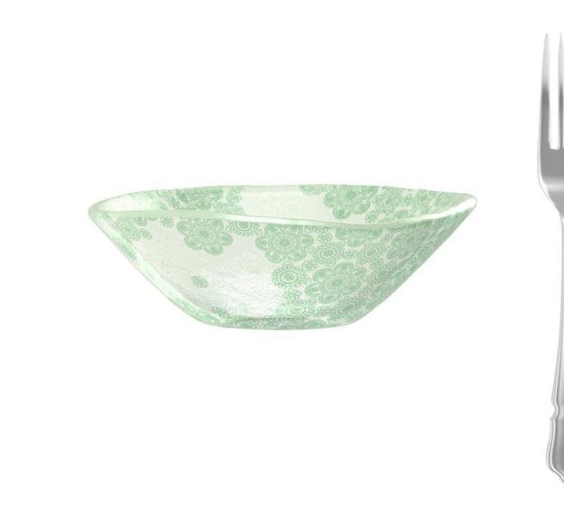 Green Rice Bowl With Pattern An Organic Glass Bowl by Anna Vasily - Measure View