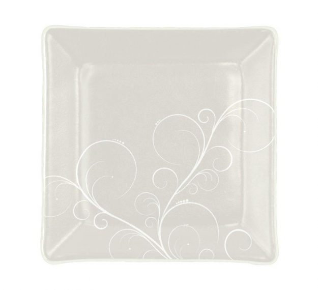 Handcrafted Square Floral White Side Plates Designed by Anna Vasily - Top View