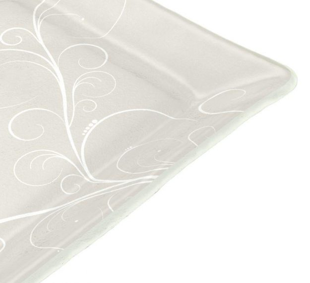 Handcrafted Square Floral White Side Plates Designed by Anna Vasily - Detail View