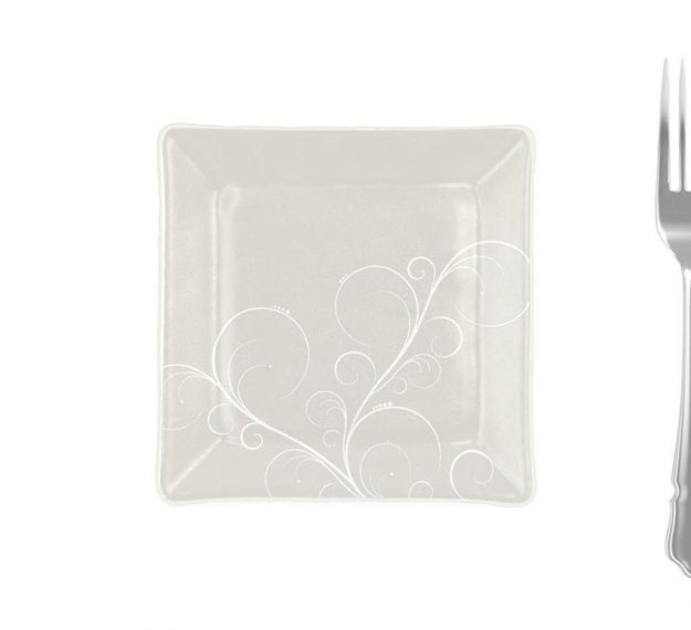 Handcrafted Square Floral White Side Plates Designed by Anna Vasily - Measure View