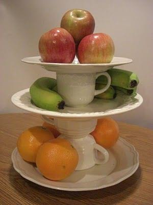 3 tier cake stand covered in various fruit