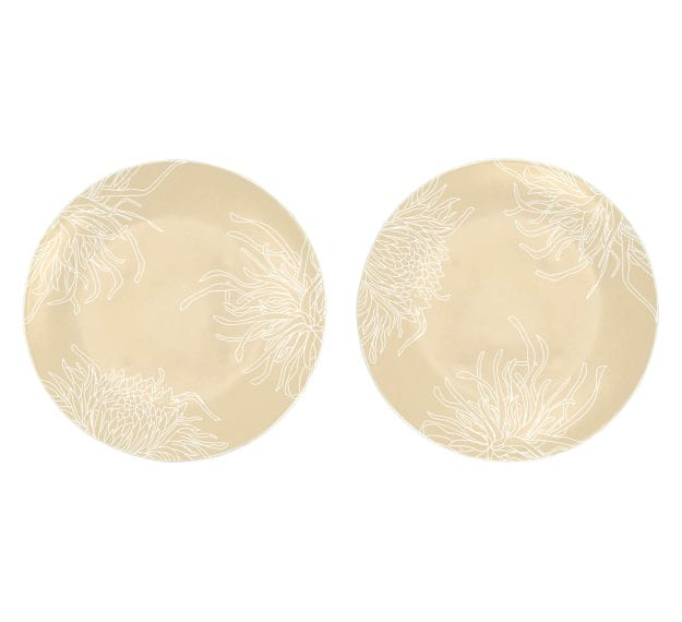 Round Risotto Plate in Cream with Floral Motifs by Anna Vasily - Set View