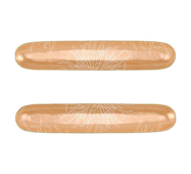 Patterned Matte Gold Serving Platter Set of 2 Designed by Anna Vasily - Set View
