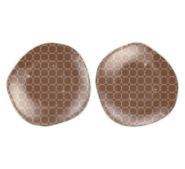 Brown Dessert Plates with a Retro Pattern Designed by Anna Vasily - Set View