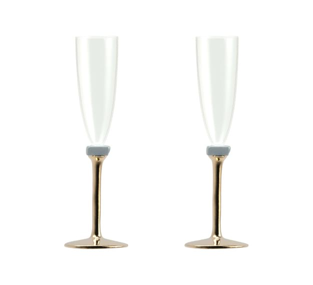 Elegant Champagne Glasses With Brass Stem Designed by Anna Vasily - Set View